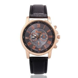 GENEVA Watch Ladies Faux Black Band